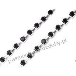 Taśma z kamyczkami w oprawie 0,5m - czarny + srebrny Koraliki i cekiny