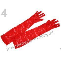 RĘKAWICE WIECZOROWE dł. 43cm KORONKOWE - czerwone Akcesoria i gadżety