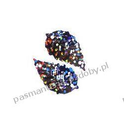 CEKINY LASEROWE LISTKI 15x25mm 5g (ok.70szt) - czarny Koraliki i cekiny