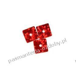 CEKINY LASEROWE KWADRATY 7x7mm 6g (ok 310szt) - czerwony Akrylowe