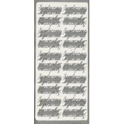 STICKERSY NAKLEJKI - napis SERDECZNE ŻYCZENIA srebrny Koraliki i cekiny