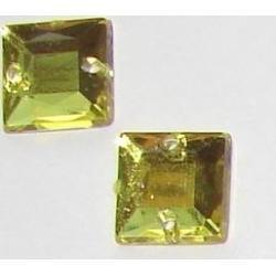DŻETY kamienie kwadraty do przyszycia 8mm KOLOR ŻÓŁTY Koraliki i cekiny