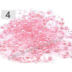 Perełki  na żyłce silikonowej  dł.130cm - różowy Koraliki i cekiny