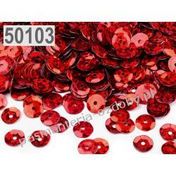 CEKINY KOŁA ŁAMANE LASEROWE 6mm 6g (ok 500szt) - czerwony