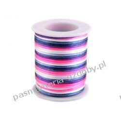 Sznurek satynowy Ø2mm - multikolor - biało-różowo-granatowy