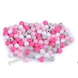 Koraliki plastikowe matowe Ø6 mm - mix (różowy, szary, biały)