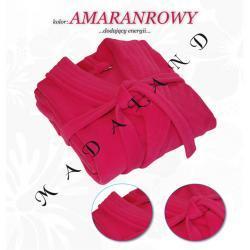 Długi szlafrok bez kaptura firmy Dorota kolor amarantowy