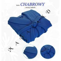Długi szlafrok bez kaptura firmy Dorota kolor chabrowy