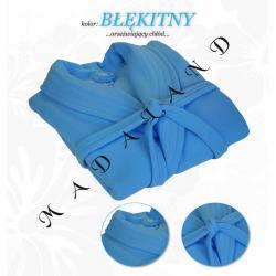 Długi szlafrok bez kaptura firmy Dorota kolor błękitny