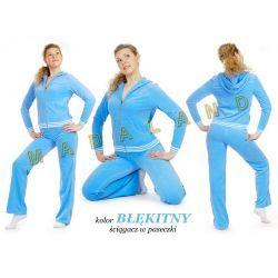 Dresy welurowe damskie FITNESS kolor błękitny