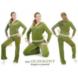 Dresy welurowe damskie FITNESS kolor oliwkowy