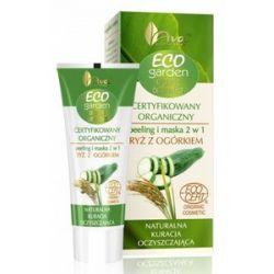 AVA Eco Garden, Certyfikowany organiczny peeling i maska 2 w 1  z ryżem i ekstraktem z ogórka, 30 ml...