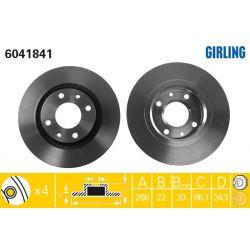 6041841 GIR 6041841 TARCZA HAMULCOWA 266X22 V 4-OTW CITROEN C2/C3/C4/PEUGEOT 206/207/307 SZT GIRLING TARCZE GIRLING [893637]...