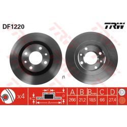 DF1220 TRW DF1220 TARCZA HAMULCOWA 266X20.5 V 4-OTW,BUS,CITROEN BERLINGO/XANTIA/PEUGEOT 206/306 SZT TRW TARCZE [892388]...