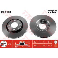 DF4184 TRW DF4184 TARCZA HAMULCOWA 266X22 V 4-OTW CITROEN C2/C3/C4/PEUGEOT 206/207/307 SZT TRW TARCZE [895071]...