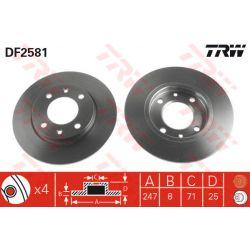 DF2581 TRW DF2581 TARCZA HAMULCOWA 247X8 P 4-OTW CITROEN SAXO/XARA/ZX/PEUGEOT 106/206 96 SZT TRW TARCZE [896789]...