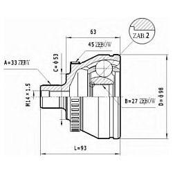 C.322 STA C.322 PRZEGUB HOMOKIN. ZEWN- VW GOLF IV 1,9TDI 97- SZT STATIM PRZEGUBY STATIM [928494]...