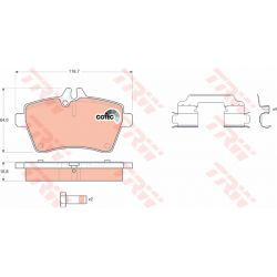 GDB1630 TRW GDB1630 KLOCKI HAMULCOWE MERCEDES KLASA A (W169) 04- / KLASA B (W245) 05- KPL TRW [947220]...