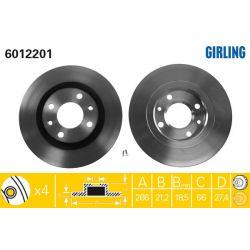 6012201 GIR 6012201 TARCZA HAMULCOWA 266X21 V 4-OTW CITROEN BERLINGO/XANTIA/PEUGEOT 206/306 SZT GIRLING TARCZE GIRLING [948157]...