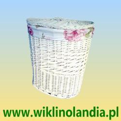 Kosze wiklinowe na pranie białe z obszyciem