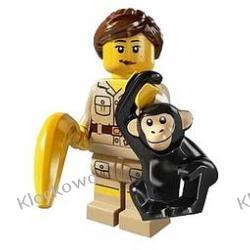 8805 OPIEKUNKA ZWIERZĄT W ZOO (Zookeeper with chimp and banana) KLOCKI LEGO MINIFIGURKI