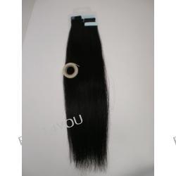 Taśma silikonowa z włosami! Metoda kanapkowa! Zestaw! Włosy naturalne dł. 55 cm!