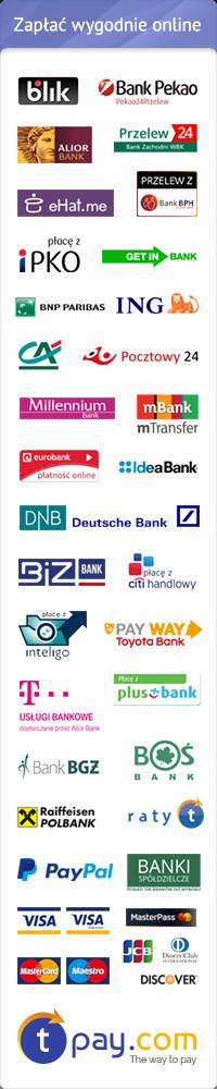 Płatności internetowe. Zapłać e-przelewem w jednym z 35 banków lub kartą.,