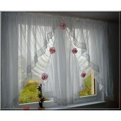 *50* Nowa elegancka firana z kwiatami,gipiura 10 Firany gotowe