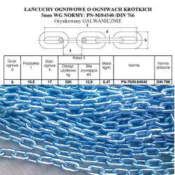ŁAŃCUCH OGNIWOWY OCYNK  5x18,5 Kalibrowany DIN766