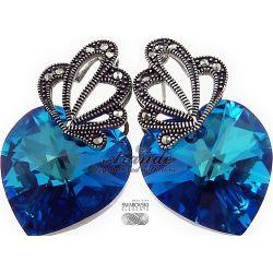 SWAROVSKI SPECIAL kolczyki BLUE HEART ADORE SREBRO