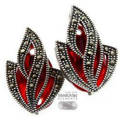 SWAROVSKI piękne kolczyki ADMIRE RED SREBRO
