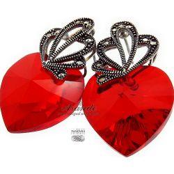 SWAROVSKI SPECIAL kolczyki RED HEART ADORE SREBRO