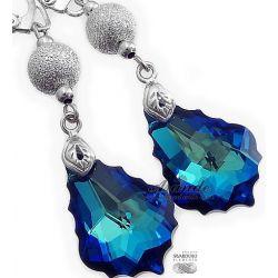 SWAROVSKI piękne długie kolczyki BLUE DIAMOND