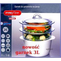 Pyrex garnek do gotowania na parze 2 sita Pyroflam 3L