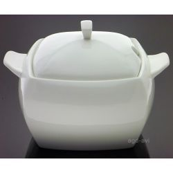 Waza do zupy 4L kwadrat porcelana Kubiko