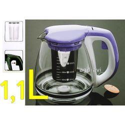 Dzbanek zaparzacz szklany do kawy herbaty ziół fiolet