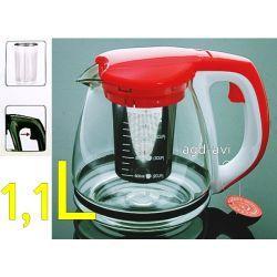 Dzbanek zaparzacz szklany do kawy herbaty ziół czerwony