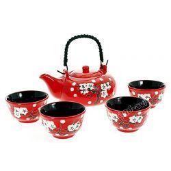 Zestaw do herbaty sushi 5cz ceramika czerwony