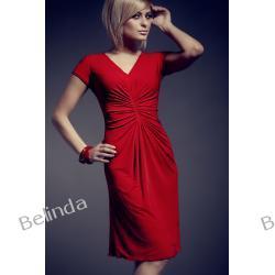 Figl 48 Sukienka marszczona na brzuchu (czerwona)