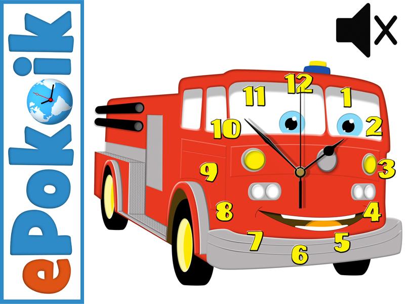 Wóz strażacki zegar ścienny dla dzieci cichy mechanizm
