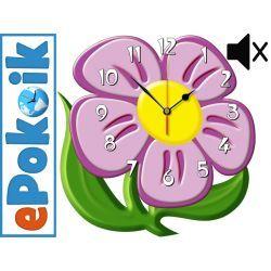 Kwiatek drewniany zegar ścienny CICHY MECHANIZM fioletowy