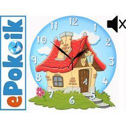 DOMEK drewniany zegar ścienny CICHY MECHANIZM niebieski