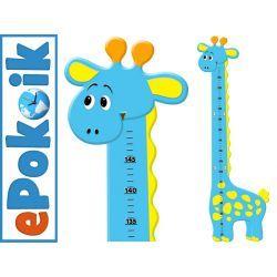 ŻYRAFKA niebieska drewniana miarka wzrostu dla dzieci