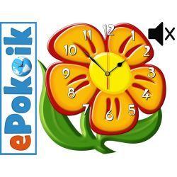 Kwiatek drewniany zegar ścienny CICHY MECHANIZM