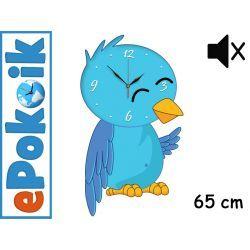 Ptak DUŻY drewniany zegar ścienny 65 cm