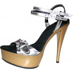 Buty na koturnie złote . Wysokość obcasa 14 cm koturn 4 cm