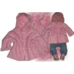 Cudny różowy kożuszek + czapeczka NEXT**74 cm