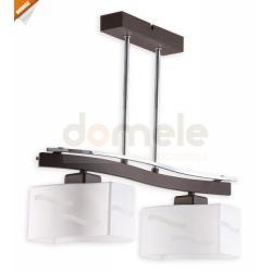 Lampa wisząca Lemir Sona 2 x E27 chrom + rdza wenge
