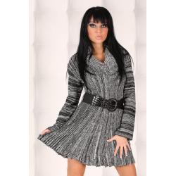 Wełniana sukienka tunika - brąz