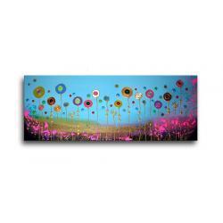 """obrazy nowoczesne """"łąka""""  ręcznie malowane w technice strukturalnej na podkładach 3D 40x100cm"""